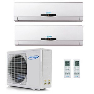 Air Con 18,000 BTU 16 SEER Ductless Dual Zone Heat Pump System 9+9
