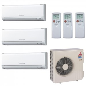 Mitsubishi 18,000 BTU 18 SEER Ductless Dual Zone Heat Pump System 6+6