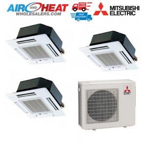 Mitsubishi 24,000 BTU 20 SEER Dual Zone Cassette Heat Pump System 12+12